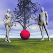 Adam and eve and apple - Stock Photo