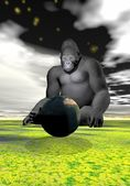 Gorilla and earth — Stock Photo