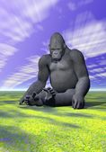A gorilla in meditative position and sky — Stock Photo