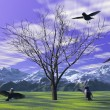 Birds and trees and mountain — Stock Photo
