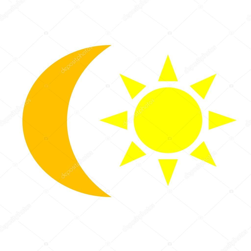 太阳黄色和橙色的月亮– 图库图片