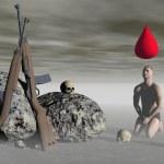 ������, ������: Man lays down arms 3d render
