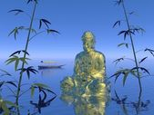 Buddha on the water - 3d render — Stockfoto