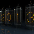 Stock Photo: New year 2013 Nixie tube indicator of numbers of retro style.