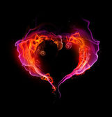 St. Valentine burning heart with flames against dark background — Stock Photo