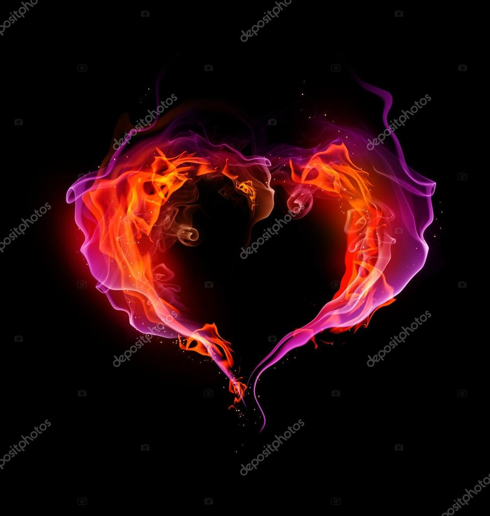 St. Valentine burning heart with flames against dark background  — Stock Photo #18419953