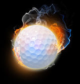 Golf ball on fire. Illustration on black background — Stock Photo