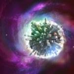 Miniature planet on galaxy — Stock Photo