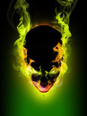 Daemon Flaming head — Stock Photo