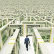 Businessman in Financial Maze Labyrinth made of 100 usd banknotes. High resolution 3D rendering. — Stock Photo