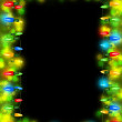 Stock Photo: Frame made with Christmas tree colorful lights on dark background