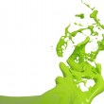 coup de feu isolé des éclaboussures de peinture verte sur fond blanc — Photo