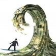 Stock Photo: Businessman slips surfing on a wave of money