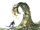 Businessman slips surfing on a wave of money — Stock Photo
