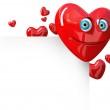 Valentine Hearts Background. Cartoon smiling face — Stock Photo #39044897