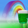Green beer with rainbow and clovers for St Patrick's day — Stock Photo