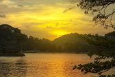 Bel tramonto tropicale su una spiaggia in sri-lanka — Foto Stock