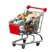 Kundvagn full av piller — Stockfoto