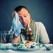 Preparing to eat medicines — Stock Photo