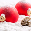 Colorful christmas baubles - Stok fotoğraf