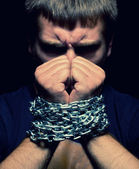 Chained man — Stock Photo