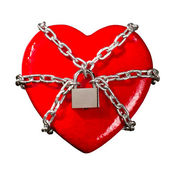 Locked red heart — Stock Photo