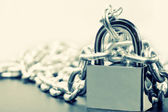 Padlock and chains — Stock Photo