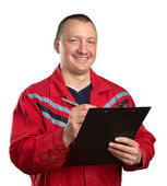Happy service man with clipboard — Stock Photo