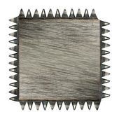 Toothed scratched metal plaque — Stock Photo
