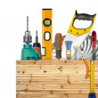 Wooden box with industrial tools - Stock Photo
