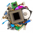 Heap of computer hardware — Stock Photo