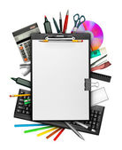 Clipboard and stationery — Stock Photo