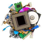 Heap of computer hardware — Stockfoto