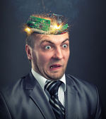 Short circuit in businessman head — Stock Photo