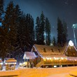 Ski chalet at night — Stock Photo