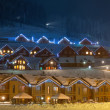 Stock Photo: Ski village at night
