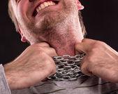 Chain around neck — Stock Photo