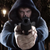 Gangster with gun — Stock Photo