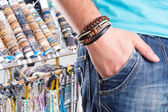 Male with leather bracelet — Stock Photo