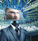 Businessman in cyberspace — Stock Photo
