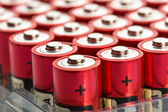 Red AA batteries — Stock Photo