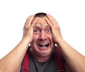 Screaming surprised man — Stock Photo