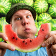 Stock Photo: Bizarre meating watermelon