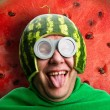Funny man with watermelon helmet and googles — Stock Photo