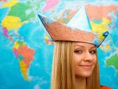 Göster şapkalı kız — Stok fotoğraf