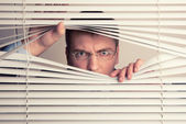 Man and window blinds — Stok fotoğraf
