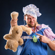 Man weared as baby and toy — Stock Photo
