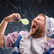 Crazy man sucking a pacifier — Stock Photo