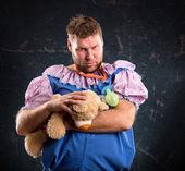Man with toy bear — Stok fotoğraf