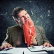 Stock Photo: Crazy businessman with meat